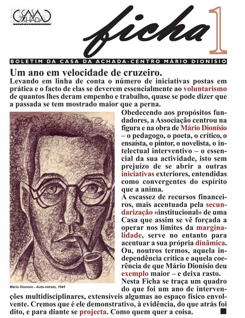 Ficha 1 - Boletim da Casa da Achada - Centro Mário Dionísio