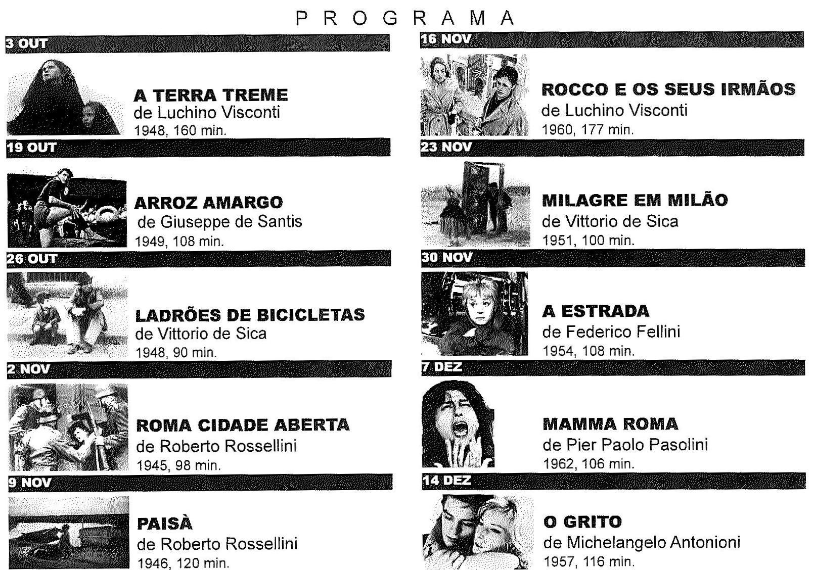 Programação Ciclo cinema Neorealismo